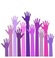 Violet colorful up hands vector image