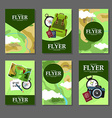 Collection of rectangular cards with maps and vector image