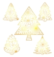 Christmas trees set golden isolated vector image vector image