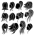 Woman face and hair icon set vector image
