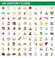 100 history icons set cartoon style vector image