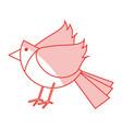 red shading silhouette of cartoon bird vector image