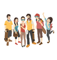 International friends stand with skateboards  eps vector image