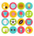 Flat Sport Recreation and Fitness Circle Icons Set vector image
