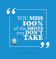 Inspirational motivational quote You miss 100 of vector image