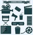 Cinema black and white icon set vector image