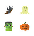 flat icon halloween set of monster gourd zombie vector image