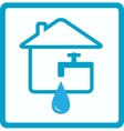 water in house with silhouette of faucet vector image
