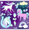 White and pink unicorns with sweets on violet vector image