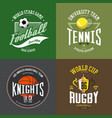 tennis racket soccer basketball ball rugby cup vector image