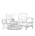 Modern interior room sketch Hand drawn furniture vector image