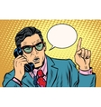 Business boss talking on the phone Retro vector image