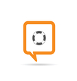 square orange speech bubble with live saver vector image