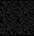 black white seamless floral pattern with tulips vector image