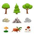 cartoon nature landscape elements set trees vector image
