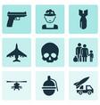 combat icons set collection of cranium ordnance vector image