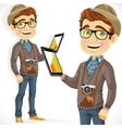 Hipster guy in hat with a tablet computer vector image