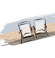 Two deck chairs on the beach sketch for your vector image