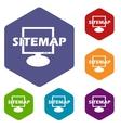 Sitemap rhombus icons vector image