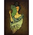 geisha on grunge background vector image vector image