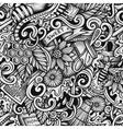 Cartoon hand-drawn doodles Honey seamless pattern vector image