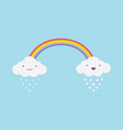happy cute rainy and snowy white clouds with a vector image