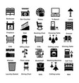 set of interior and decoration glyph icons 9 vector image