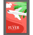 Flyer Sunny day The plane takes passengers to the vector image