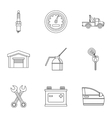 Repair machine icons set outline style vector image