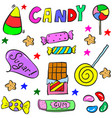 doodle candy colorful various object vector image