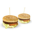 tasty burger with grilled beef tomato lettuce vector image