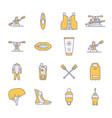 Rafting kayaking flat line icons vector image