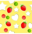 Bright strawberry cute wallpaper seamless pattern vector image