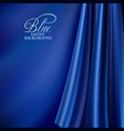 brightly lit blue curtain background blue silk vector image