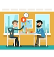 Businessmen discussing strategy sitting at office vector image