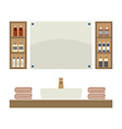 Single Lavatory With Mirrors And Shelves vector image