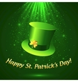 Green Patricks leprechaun hat with golden clover vector image