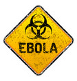 grunge ebola virus biohazard warning sign - vector image