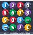 Numbers and Mathematical Symbols Icons With Long vector image vector image