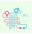 Abstract background with male and female symbols vector image vector image