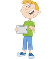 boy with tablet pc cartoon vector image