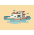 House on water with yacht vector image