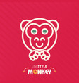 line style monkey vector image