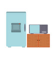 fridge and microwave vector image