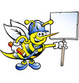 Hand-drawn of an Happy Working Bee Holding a Sign vector image