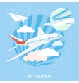 Detailed airplane flying through clouds in the vector image