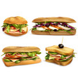 healthy fresh ingredient sandwiches set vector image