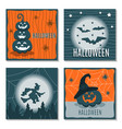 set of greeting cards halloween vector image