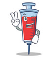 two finger syringe character cartoon style vector image