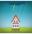 Vintage lonely house on the rain vector image